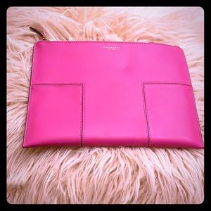 Tory Burch Hot Pink Leather Clutch